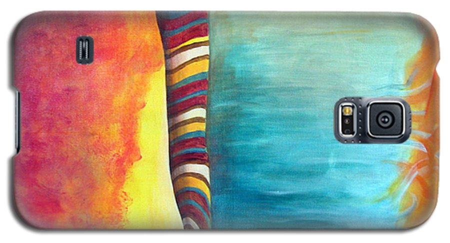 Abstract Galaxy S5 Case featuring the painting Cafe by Muriel Dolemieux