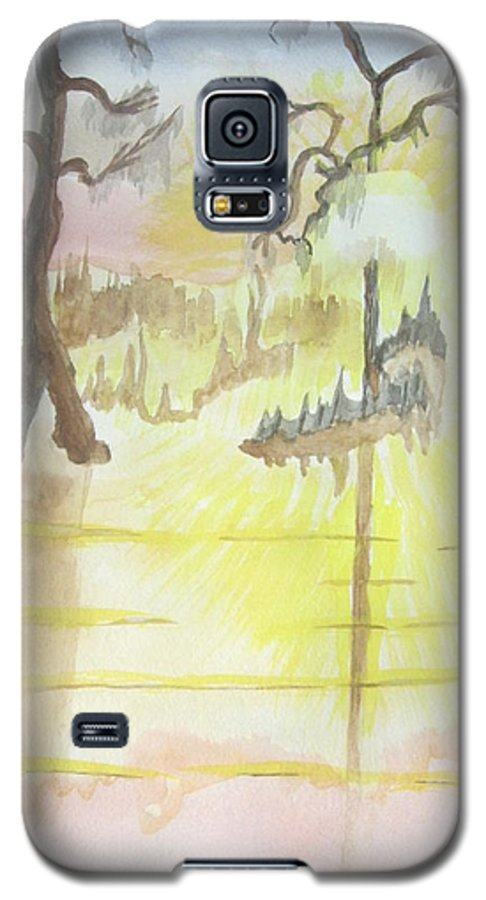 Landscape Watercolor Galaxy S5 Case featuring the painting Cajun Sunrise by Warren Thompson