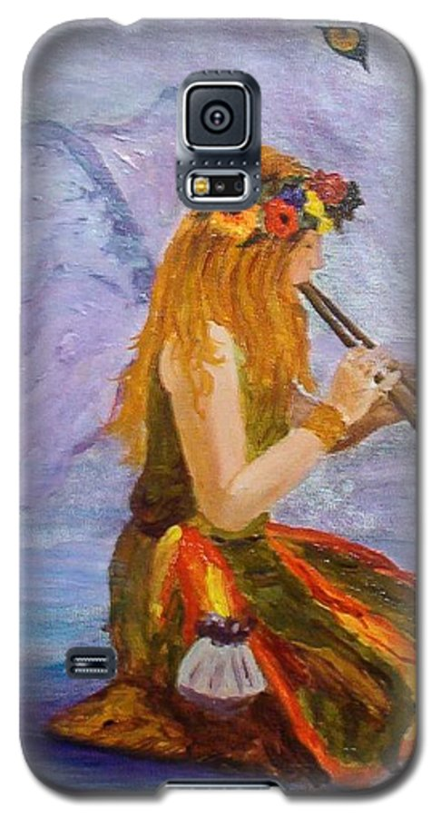 Galaxy S5 Case featuring the painting Calling The Wolf Spirit by Tami Booher