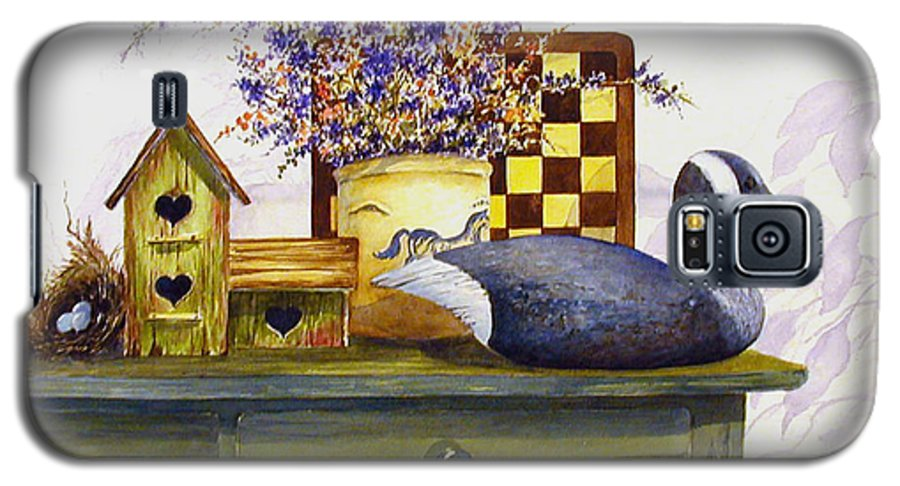 Canada Goose;birdhouse;bird Nest;crock;checkerboard;still Life;country Still Life; Galaxy S5 Case featuring the painting Canada And Checkerboard by Lois Mountz