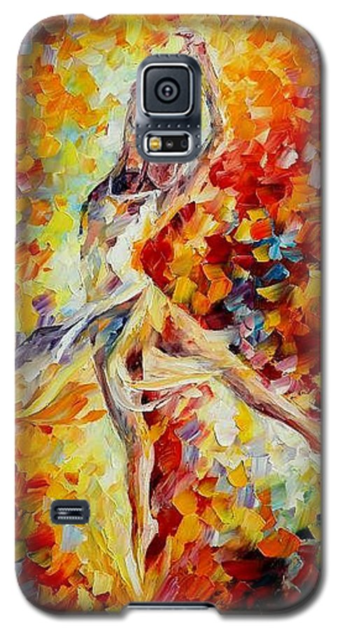 Danse Galaxy S5 Case featuring the painting Candle Fire by Leonid Afremov