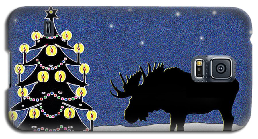 Moose Galaxy S5 Case featuring the digital art Candlelit Christmas Tree And Moose In The Snow by Nancy Mueller
