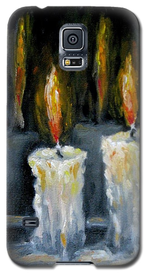 Candles Galaxy S5 Case featuring the painting Candles Oil Painting by Natalja Picugina