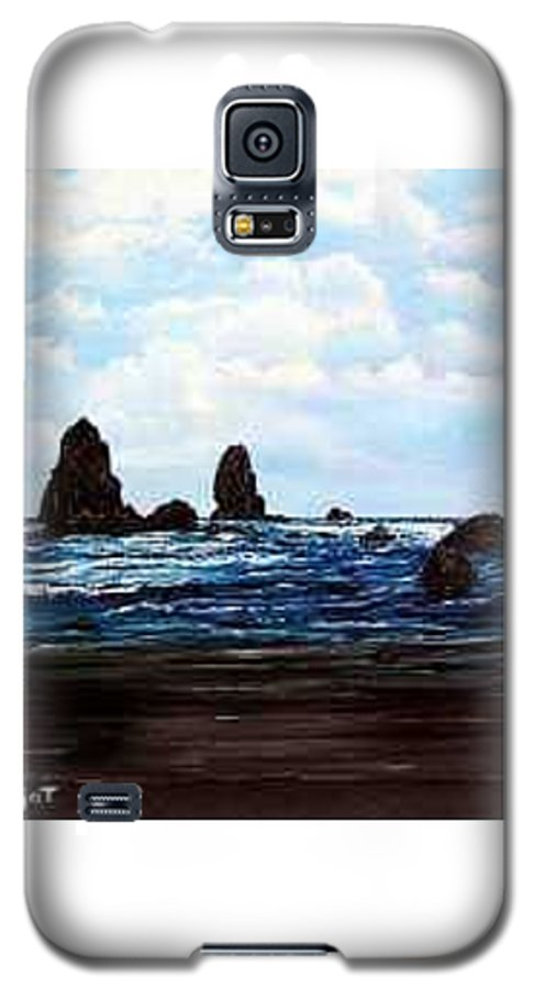 This Is Cannon Beach Oregon. This Painting Is Framed In A Lovely Gold Tone Frame. Galaxy S5 Case featuring the painting Cannon Beach by Darla Boljat