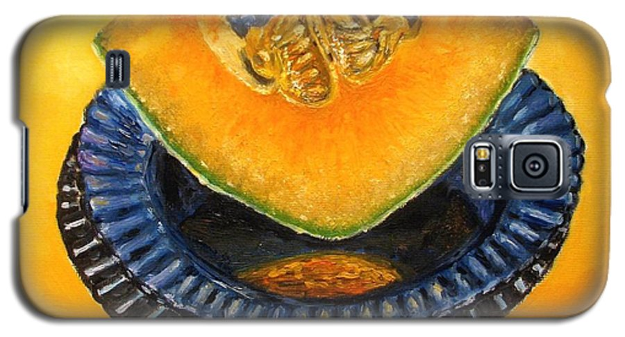 Cantaloupe Galaxy S5 Case featuring the painting Cantaloupe Oil Painting by Natalja Picugina