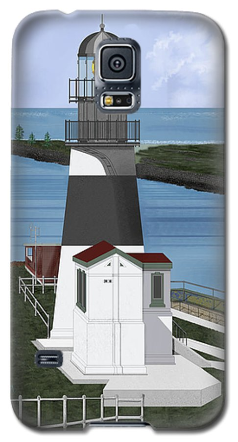 Lighthouse Galaxy S5 Case featuring the painting Cape Disappointment At Fort Canby Washington by Anne Norskog
