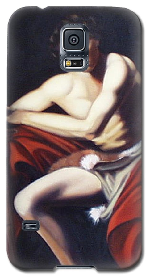 Caravaggio Galaxy S5 Case featuring the painting Caravaggio's John The Baptist Study by Toni Berry