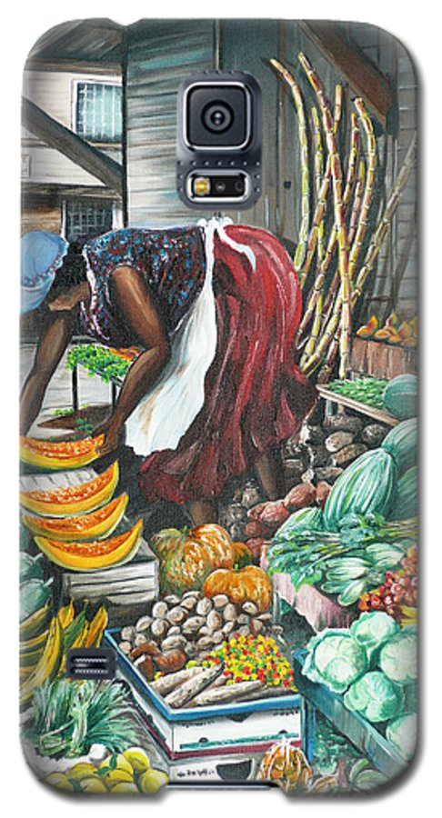 Caribbean Painting Market Vendor Painting Caribbean Market Painting Fruit Painting Vegetable Painting Woman Painting Tropical Painting City Scape Trinidad And Tobago Painting Typical Roadside Market Vendor In Trinidad Galaxy S5 Case featuring the painting Caribbean Market Day by Karin Dawn Kelshall- Best