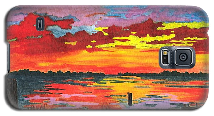 Original Painting Galaxy S5 Case featuring the painting Carolina Sunset by Patricia Griffin Brett