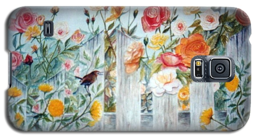 Roses; Flowers; Sc Wren Galaxy S5 Case featuring the painting Carolina Wren And Roses by Ben Kiger