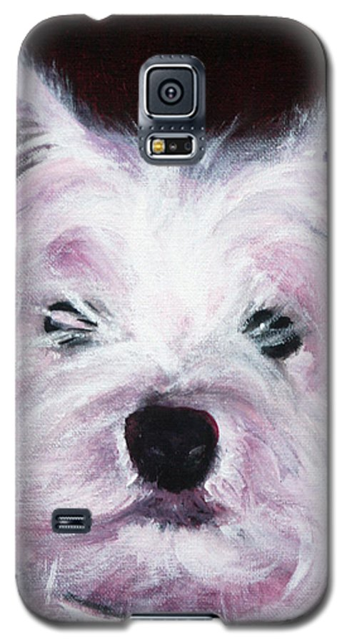 Dog Galaxy S5 Case featuring the painting Cassie by Fiona Jack