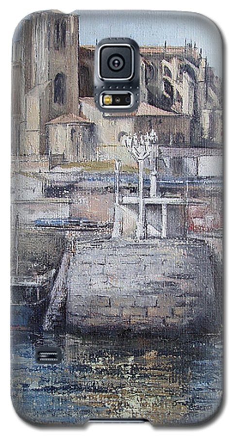 Castro Galaxy S5 Case featuring the painting Castro Urdiales by Tomas Castano