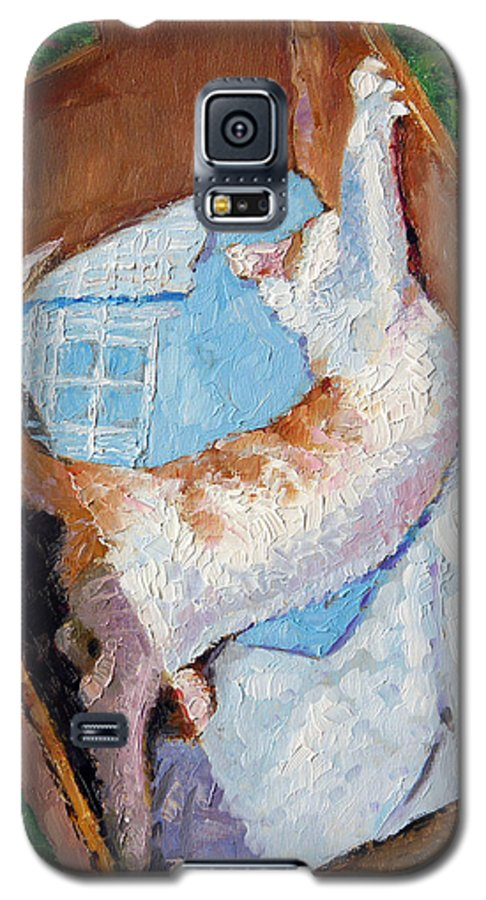 Kitten Galaxy S5 Case featuring the painting Cat In A Box by John Lautermilch