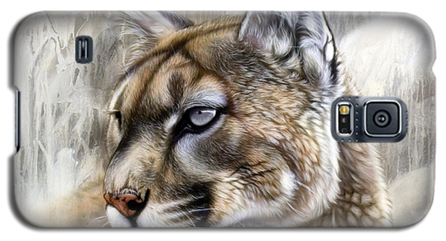 Acrylic Galaxy S5 Case featuring the painting Catamount by Sandi Baker