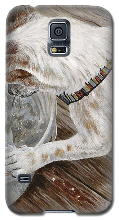 Pet Portrait Galaxy S5 Case featuring the painting Catch Of The Day by Danielle Perry