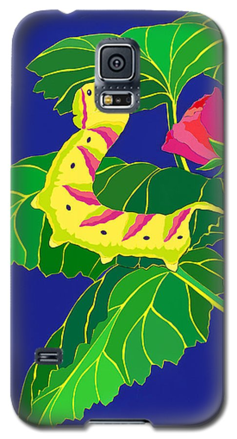Nature Galaxy S5 Case featuring the drawing Caterpillar by Lucyna A M Green
