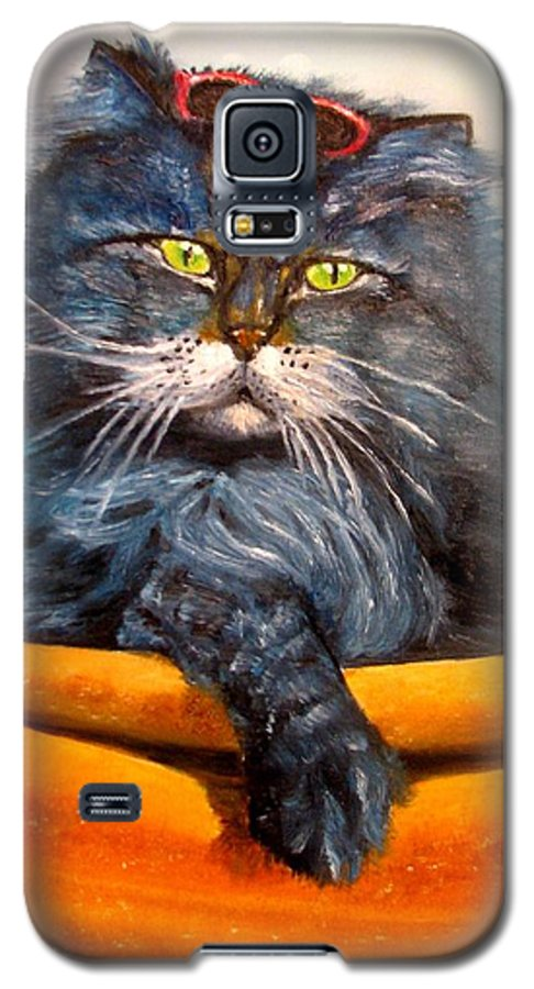 Cat Galaxy S5 Case featuring the painting Cat.go To Swim.original Oil Painting by Natalja Picugina