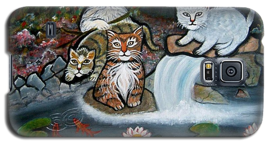 Acrylic Art Landscape Cats Animals Figurative Waterfall Fish Trees Galaxy S5 Case featuring the painting Cats In The Wild by Manjiri Kanvinde