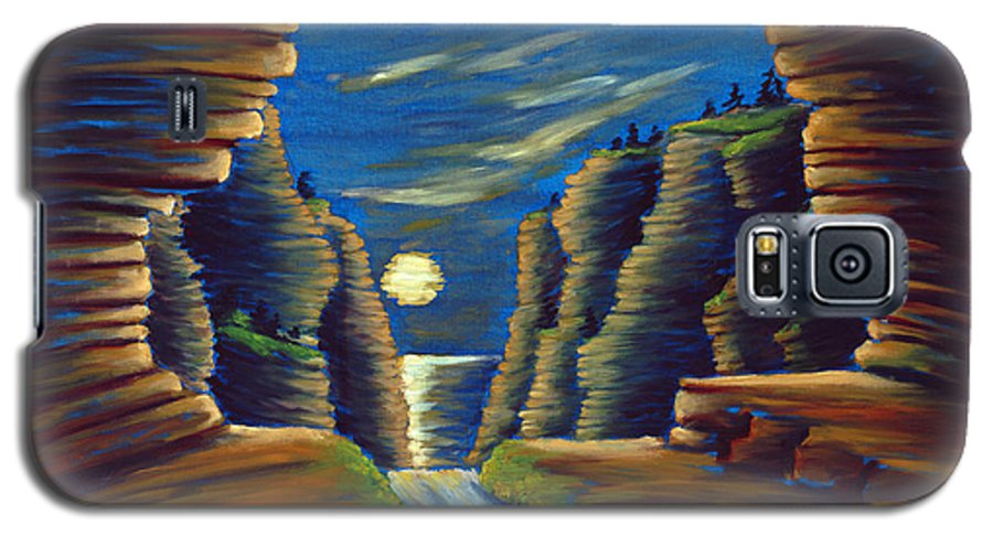 Cave Galaxy S5 Case featuring the painting Cave With Cliffs by Jennifer McDuffie