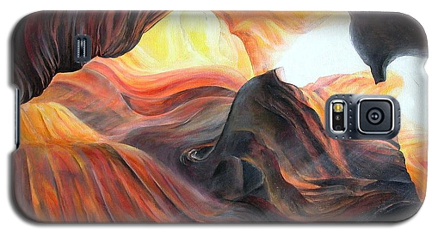 Landscape Galaxy S5 Case featuring the painting Caverne by Muriel Dolemieux