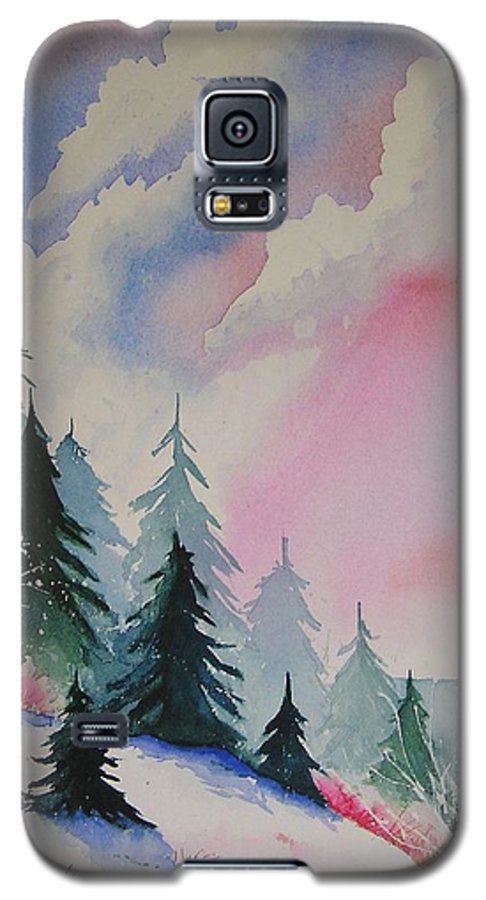 Snow Galaxy S5 Case featuring the painting Cedar Fork Snow by Karen Stark