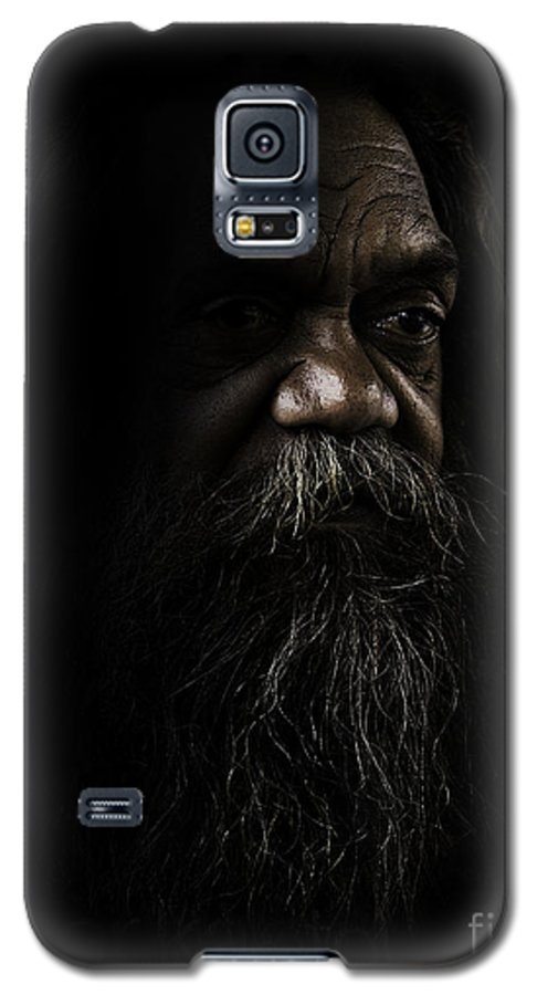 Fullblood Aborigine Galaxy S5 Case featuring the photograph Cedric In Shadows by Avalon Fine Art Photography