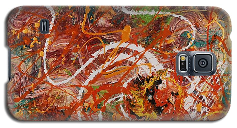 Orange Galaxy S5 Case featuring the painting Celebration II by Nadine Rippelmeyer