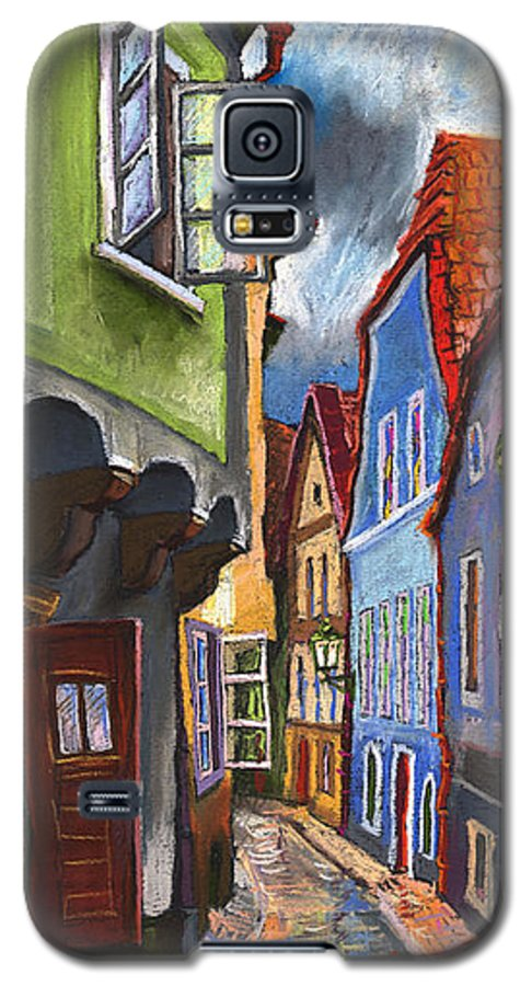 Pastel Chesky Krumlov Old Street Architectur Galaxy S5 Case featuring the painting Cesky Krumlov Old Street 1 by Yuriy Shevchuk