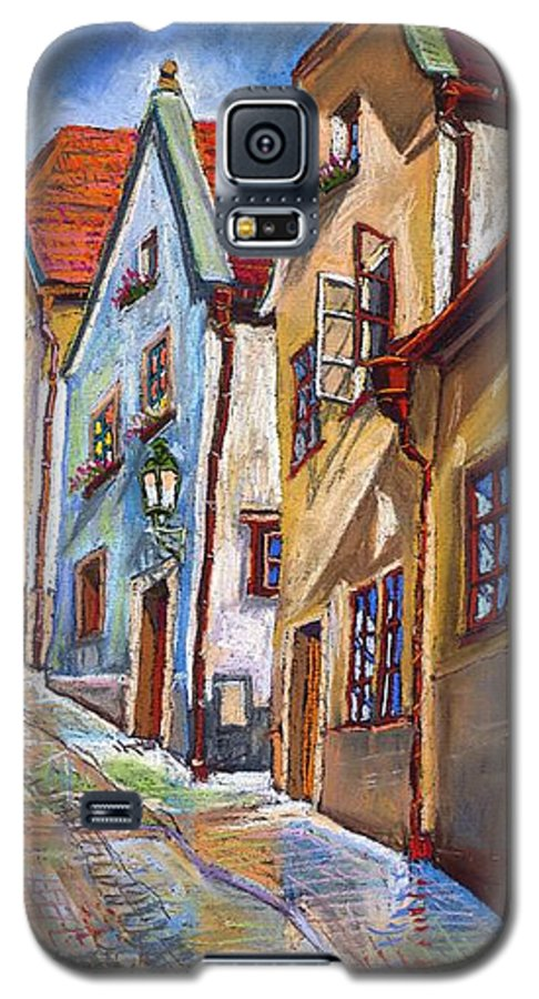 Pastel Chesky Krumlov Old Street Architectur Galaxy S5 Case featuring the painting Cesky Krumlov Old Street 2 by Yuriy Shevchuk