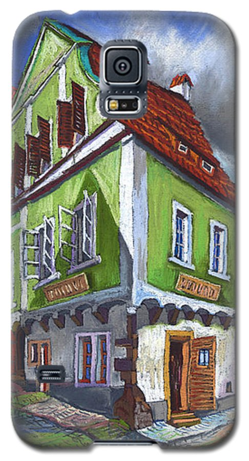 Pastel Chesky Krumlov Old Street Cityscape Realism Architectur Galaxy S5 Case featuring the painting Cesky Krumlov Old Street 3 by Yuriy Shevchuk