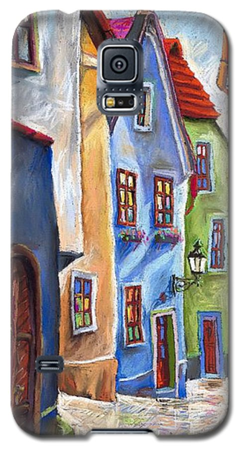 Cityscape Galaxy S5 Case featuring the painting Cesky Krumlov Old Street by Yuriy Shevchuk