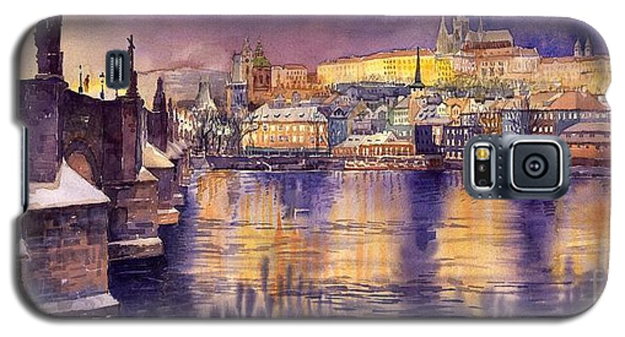 Cityscape Galaxy S5 Case featuring the painting Charles Bridge And Prague Castle With The Vltava River by Yuriy Shevchuk