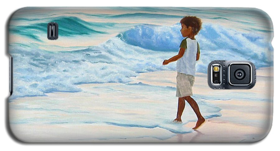 Child Galaxy S5 Case featuring the painting Chasing The Waves by Lea Novak
