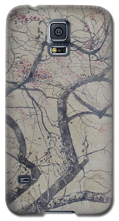 Crab Apple Galaxy S5 Case featuring the painting Prairie Fire by Leah Tomaino