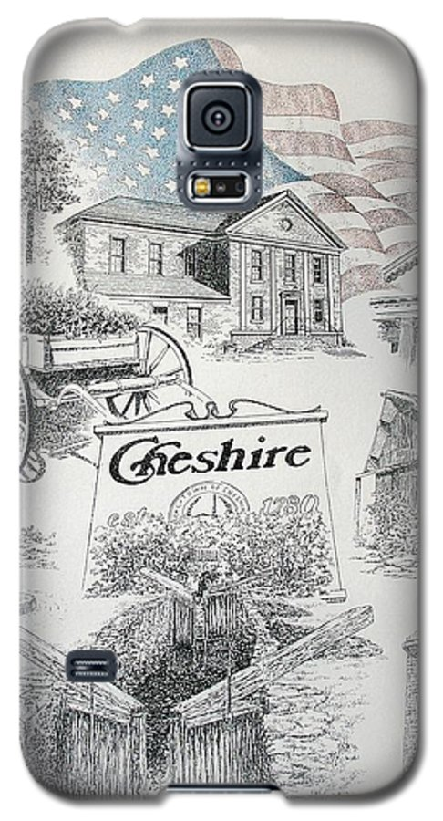 Connecticut Cheshire Ct Historical Poster Architecture Buildings New England Galaxy S5 Case featuring the drawing Cheshire Historical by Tony Ruggiero