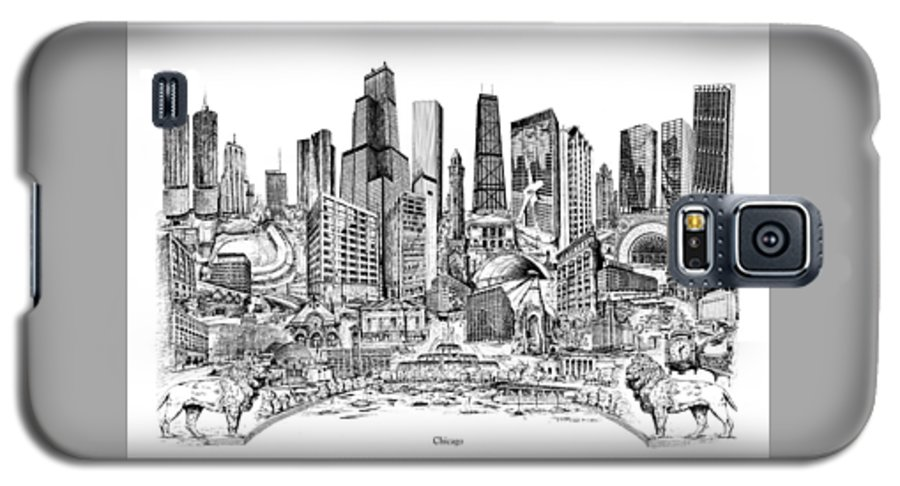 City Drawing Galaxy S5 Case featuring the drawing Chicago by Dennis Bivens