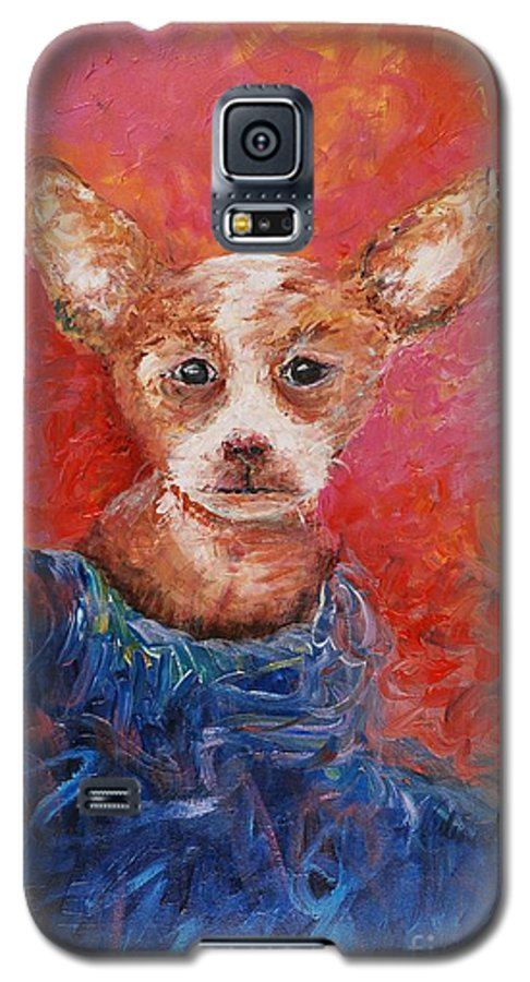 Dog Galaxy S5 Case featuring the painting Chihuahua Blues by Nadine Rippelmeyer
