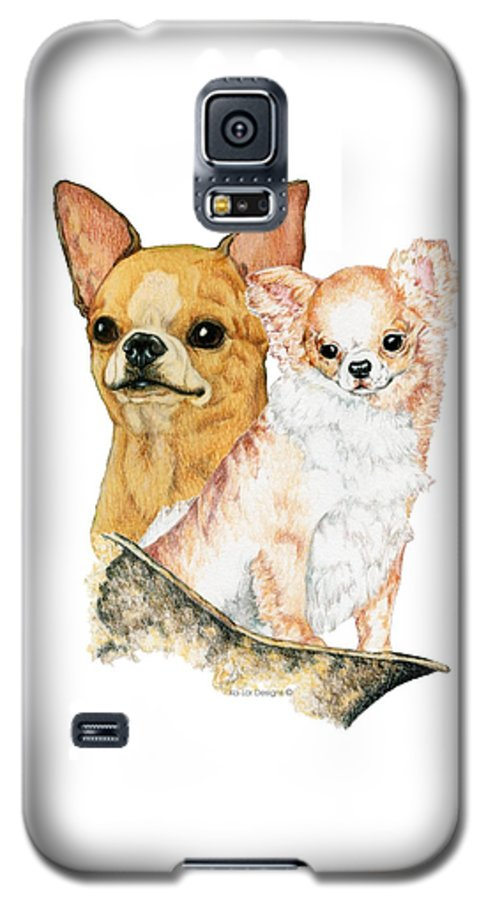 Chihuahua Galaxy S5 Case featuring the drawing Chihuahuas by Kathleen Sepulveda