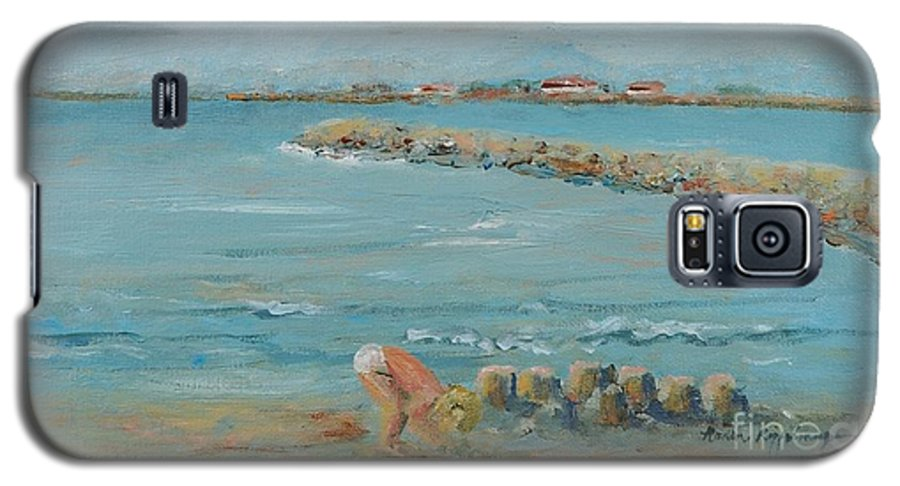 Beach Galaxy S5 Case featuring the painting Child Playing At Provence Beach by Nadine Rippelmeyer