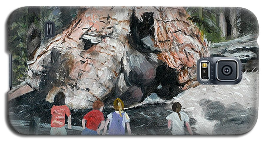 Children Galaxy S5 Case featuring the painting Children At Sequoia National Park by Quwatha Valentine