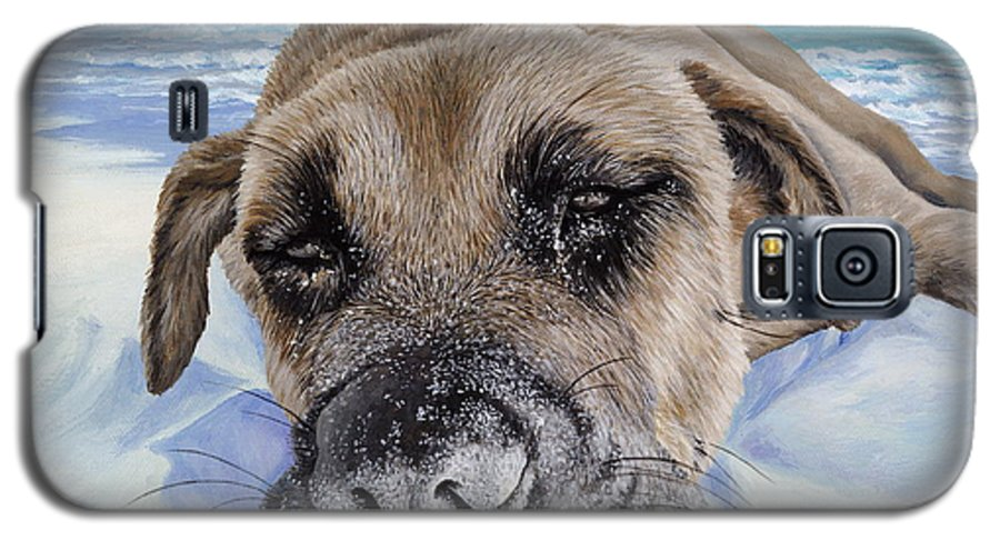 Pet Portrait Galaxy S5 Case featuring the painting Chillin In Briland by Danielle Perry
