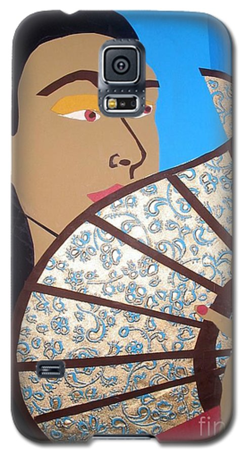 Chinese Galaxy S5 Case featuring the mixed media Chinese Fan by Debra Bretton Robinson