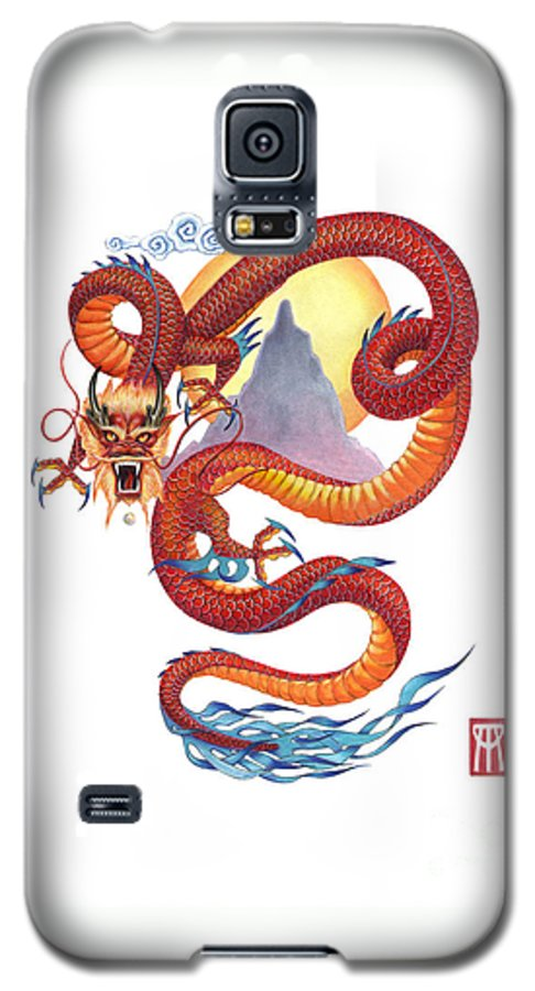Dragon Galaxy S5 Case featuring the painting Chinese Red Dragon by Melissa A Benson