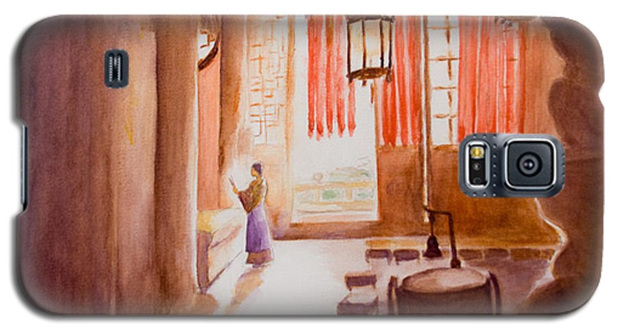 Temple Galaxy S5 Case featuring the painting Chinese Temple by Nik Helbig