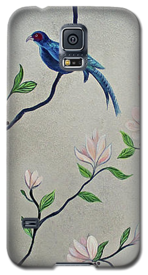 Peacock Peacocks Bird Birds Pattern Patterns Flowers Pink Green Leaf Leafy Leaves Vine Vines Ivy Plant Plants Fabric Fabrics Design Chinoiserie Panels Groupings Pheasant Flower Magnolia Golden Pheasant Butterfly Transitional Cardinal Red Bird Blue Bird Jay Peach Green Humming Bird And Blue Jay Galaxy S5 Case featuring the painting Chinoiserie - Magnolias And Birds #4 by Shadia Derbyshire
