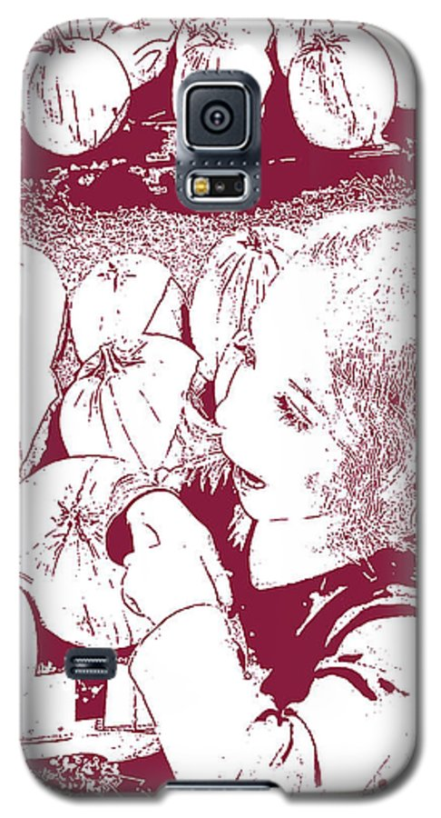 Young Girl Galaxy S5 Case featuring the photograph Chosing The Pumpkin by Geoff Jewett