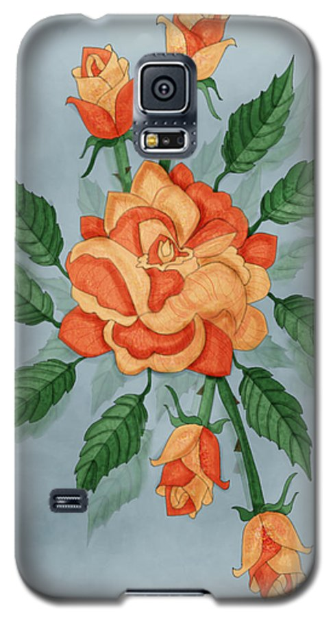 Floral Galaxy S5 Case featuring the painting Christ And The Disciples Roses by Anne Norskog
