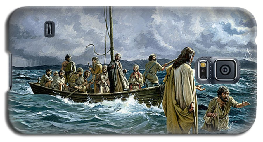 Christ Galaxy S5 Case featuring the painting Christ Walking On The Sea Of Galilee by Anonymous
