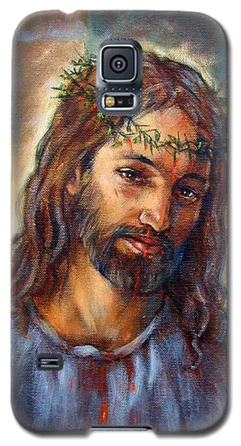 Christ Galaxy S5 Case featuring the painting Christ With Thorns by John Lautermilch