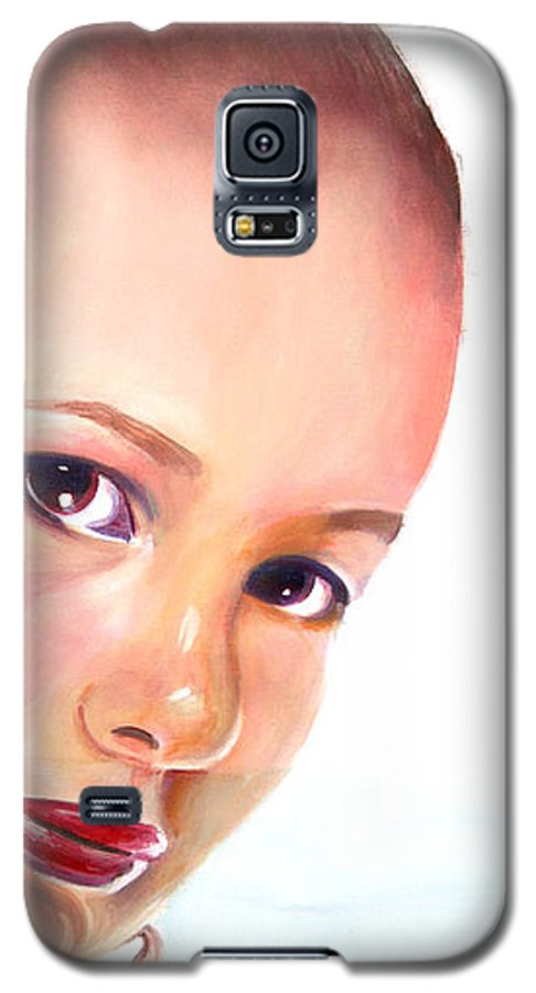 Portrait Galaxy S5 Case featuring the painting Christine by Fiona Jack